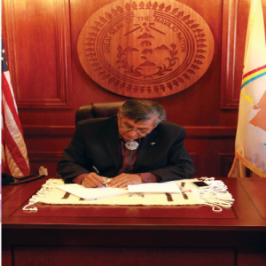 Navajo Nation President Ben Shelly vetoed Resolution No. CO-47-14 and said the decision to amend the language requirements of the Navajo Nation Election Code must be done through a referendum vote brought before the Navajo people. Their voices must be heard, he said. (Photo by Rick Abasta)